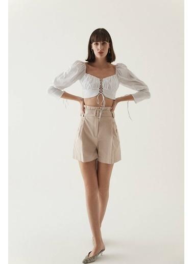 Rue Çapraz Bağcık Detaylı Kısa Bluz Beyaz